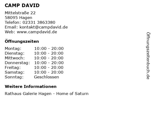 CAMP DAVID in Hagen: Adresse und Öffnungszeiten