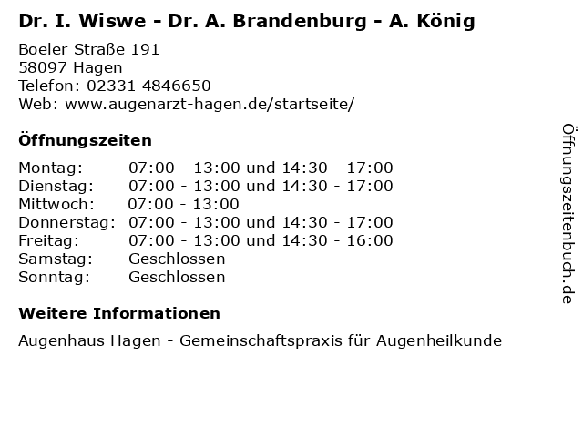 """ᐅ Öffnungszeiten """"Dr. I. Wiswe - Dr. A. Brandenburg - A"""