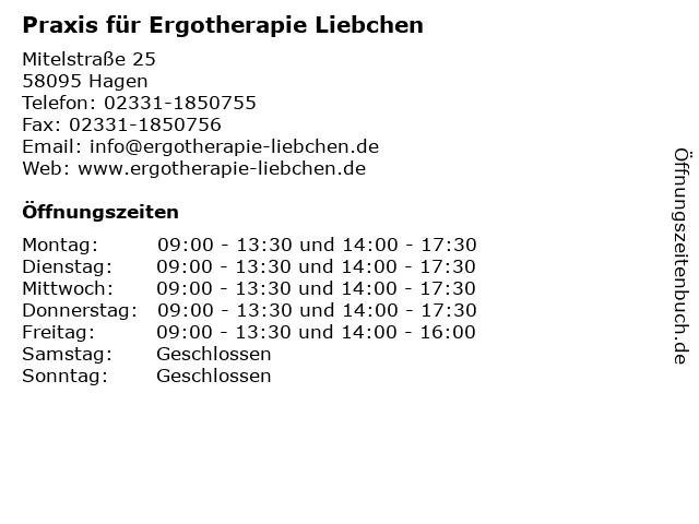 Ergotherapie Katharina Liebchen in Hagen: Adresse und Öffnungszeiten