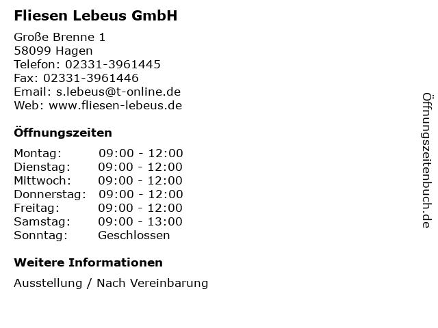 Fliesen Lebeus GmbH in Hagen: Adresse und Öffnungszeiten