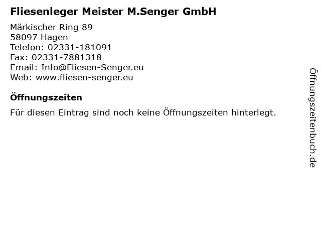 Fliesenleger Meister M.Senger GmbH in Hagen: Adresse und Öffnungszeiten