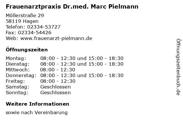 Frauenarztpraxis Dr.med. Marc Pielmann in Hagen: Adresse und Öffnungszeiten