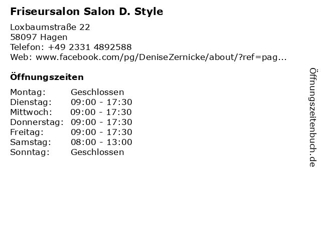 "ᐅ Öffnungszeiten ""Friseursalon Salon D. Style""   Loxbaumstraße 22 ..."