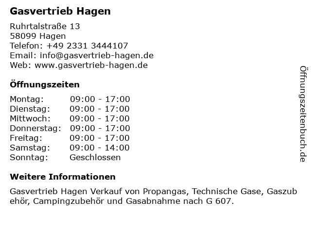ᐅ öffnungszeiten Gasvertrieb Hagen Ruhrtalstraße 13 In Hagen