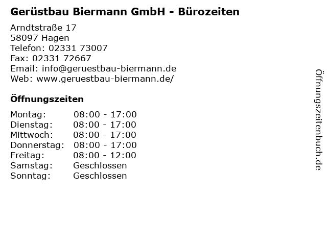 Gerüstbau Biermann GmbH - Bürozeiten in Hagen: Adresse und Öffnungszeiten