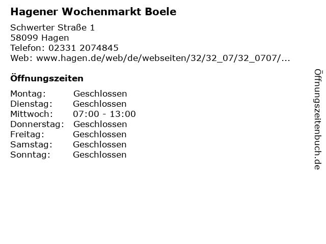 Hagener Wochenmarkt Boele in Hagen: Adresse und Öffnungszeiten