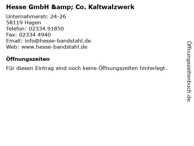 Hesse GmbH & Co. Kaltwalzwerk in Hagen: Adresse und Öffnungszeiten