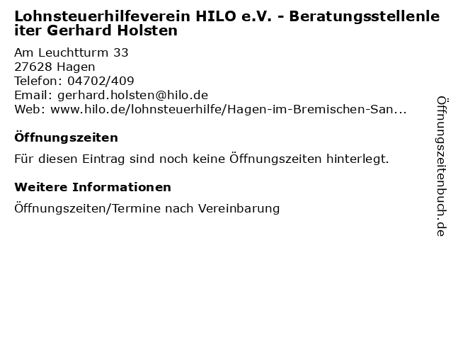Lohnsteuerhilfeverein HILO e.V. - Beratungsstellenleiter Gerhard Holsten in Hagen: Adresse und Öffnungszeiten