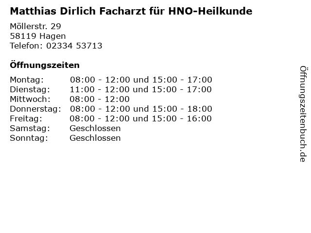 Matthias Dirlich Facharzt für HNO-Heilkunde in Hagen: Adresse und Öffnungszeiten