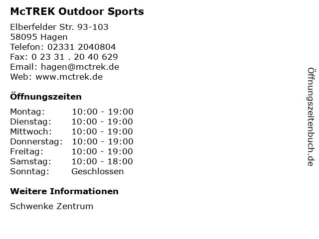 McTREK Outdoor Sports in Hagen: Adresse und Öffnungszeiten