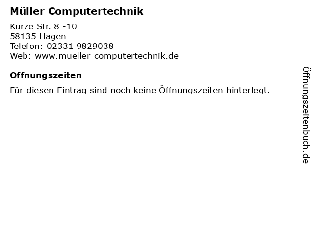 Müller Computertechnik in Hagen: Adresse und Öffnungszeiten