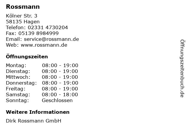Dirk Rossmann GmbH in Hagen: Adresse und Öffnungszeiten