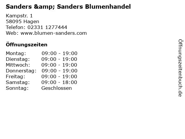 Sanders & Sanders Blumenhandel in Hagen: Adresse und Öffnungszeiten