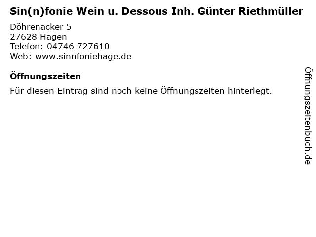 Sin(n)fonie Wein u. Dessous Inh. Günter Riethmüller in Hagen: Adresse und Öffnungszeiten