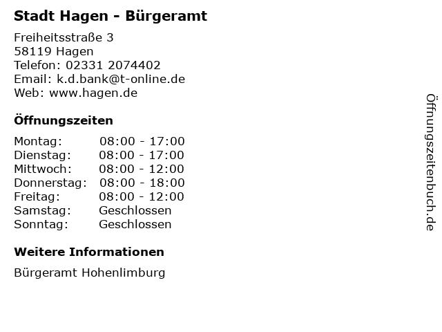 Stadt Hagen - Bürgeramt in Hagen: Adresse und Öffnungszeiten