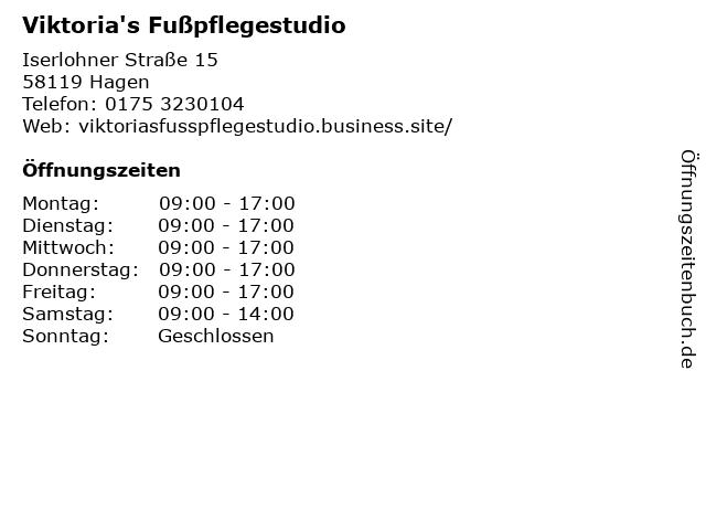 Viktoria's Fußpflegestudio in Hagen: Adresse und Öffnungszeiten