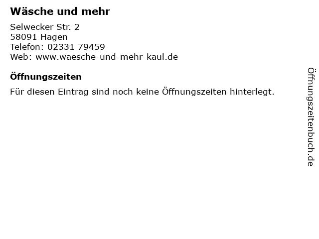 Wäsche und mehr in Hagen: Adresse und Öffnungszeiten