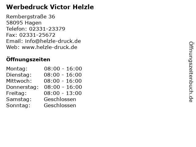 Werbedruck Victor Helzle in Hagen: Adresse und Öffnungszeiten
