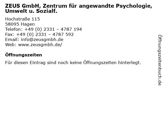 ZEUS GmbH, Zentrum für angewandte Psychologie, Umwelt u. Sozialf. in Bochum: Adresse und Öffnungszeiten
