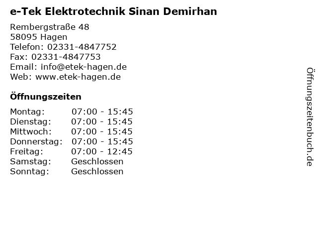 e-Tek Elektrotechnik Sinan Demirhan in Hagen: Adresse und Öffnungszeiten