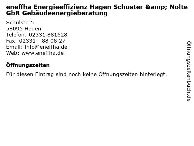 eneffha Energieeffizienz Hagen Schuster & Nolte GbR Gebäudeenergieberatung in Hagen: Adresse und Öffnungszeiten