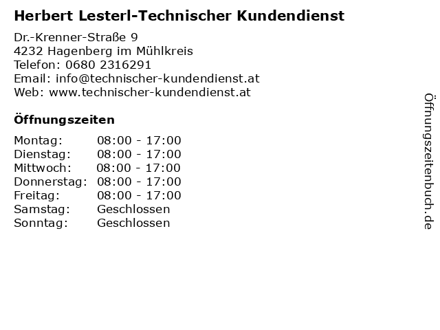 Herbert Lesterl-Technischer Kundendienst in Hagenberg im Mühlkreis: Adresse und Öffnungszeiten
