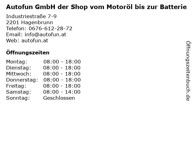 Autofun GmbH der Shop vom Motoröl bis zur Batterie in Hagenbrunn: Adresse und Öffnungszeiten