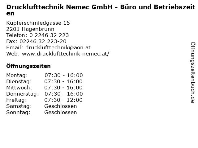 Drucklufttechnik Nemec GmbH - Büro und Betriebszeiten in Hagenbrunn: Adresse und Öffnungszeiten