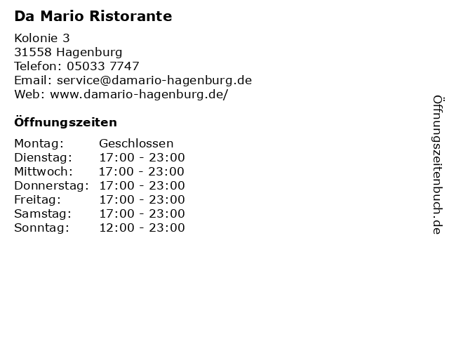 Da Mario Ristorante in Hagenburg: Adresse und Öffnungszeiten