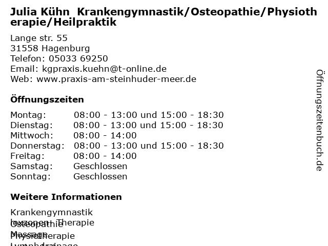 Julia Kühn  Krankengymnastik/Osteopathie/Physiotherapie/Heilpraktik in Hagenburg: Adresse und Öffnungszeiten