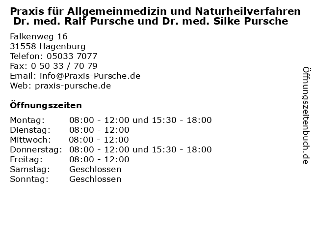 Praxis für Allgemeinmedizin und Naturheilverfahren Dr. med. Ralf Pursche und Dr. med. Silke Pursche in Hagenburg: Adresse und Öffnungszeiten