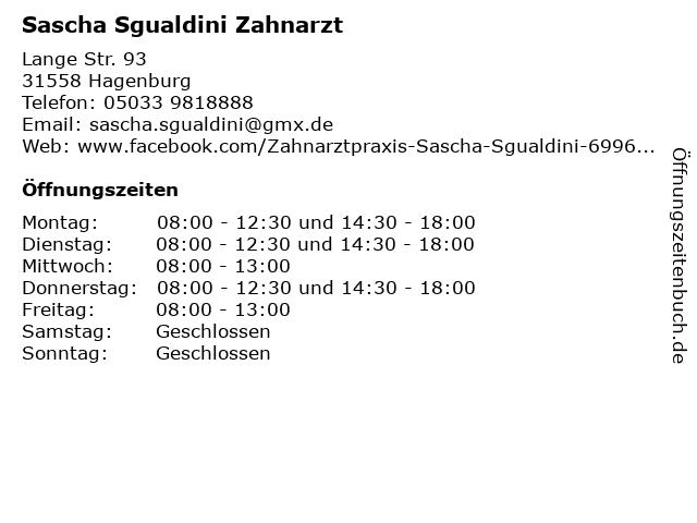 Sascha Sgualdini Zahnarzt in Hagenburg: Adresse und Öffnungszeiten