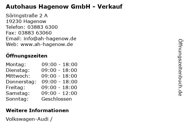 Autohaus Hagenow GmbH - Verkauf in Hagenow: Adresse und Öffnungszeiten