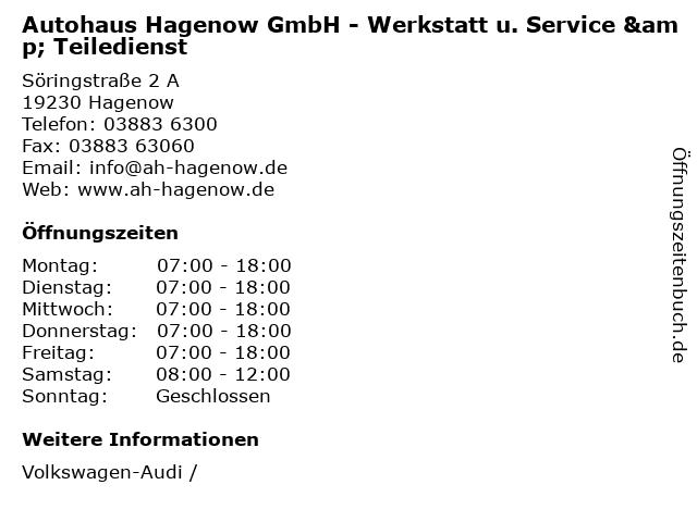 Autohaus Hagenow GmbH - Werkstatt u. Service & Teiledienst in Hagenow: Adresse und Öffnungszeiten
