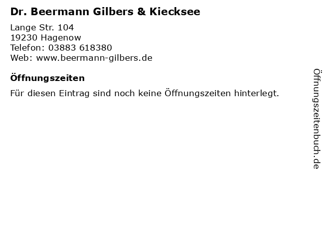 Dr. Beermann Gilbers & Kiecksee in Hagenow: Adresse und Öffnungszeiten