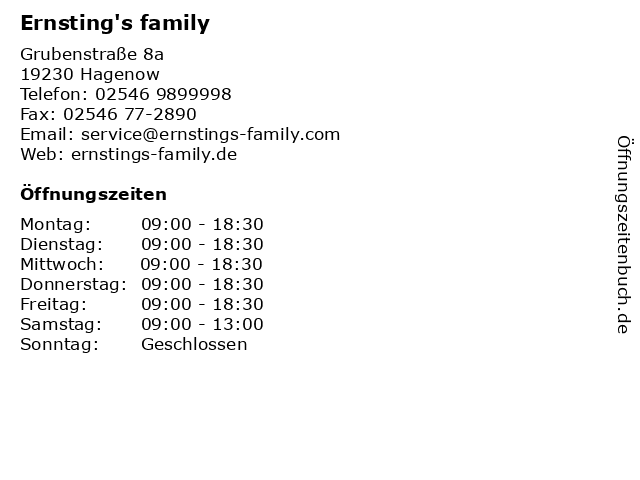 Ernsting's family in Hagenow: Adresse und Öffnungszeiten