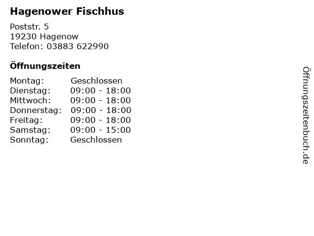 Hagenower Fischhus in Hagenow: Adresse und Öffnungszeiten