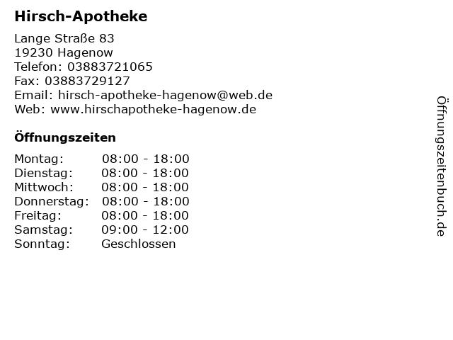 Hirsch-Apotheke in Hagenow: Adresse und Öffnungszeiten