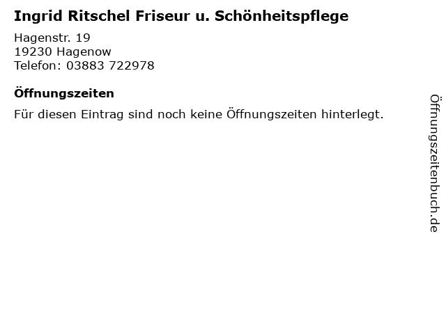 Ingrid Ritschel Friseur u. Schönheitspflege in Hagenow: Adresse und Öffnungszeiten