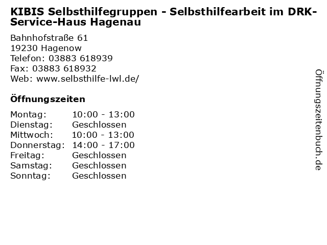 KIBIS Selbsthilfegruppen - Selbsthilfearbeit im DRK-Service-Haus Hagenau in Hagenow: Adresse und Öffnungszeiten