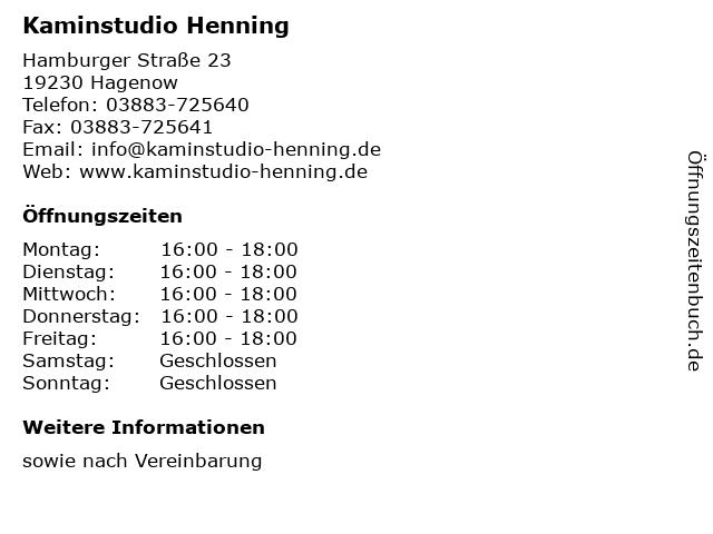 Kaminstudio Henning in Hagenow: Adresse und Öffnungszeiten