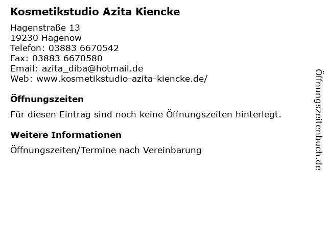 Kosmetikstudio Azita Kiencke in Hagenow: Adresse und Öffnungszeiten