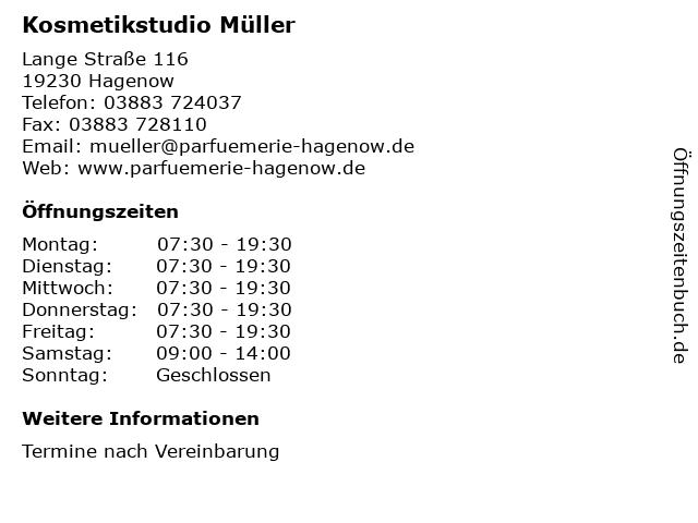 Kosmetikstudio Müller in Hagenow: Adresse und Öffnungszeiten