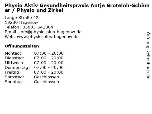 Physio Aktiv Gesundheitspraxis Antje Groteloh-Schinner / Physio und Zirkel in Hagenow: Adresse und Öffnungszeiten