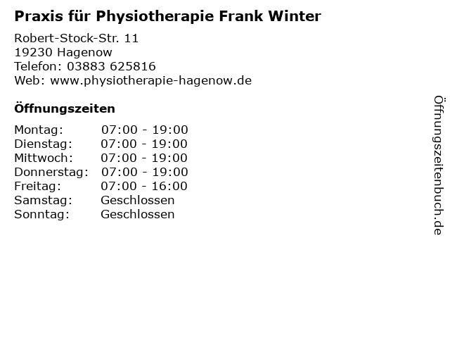 Praxis für Physiotherapie Frank Winter in Hagenow: Adresse und Öffnungszeiten
