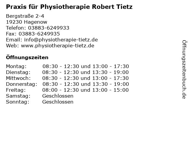 Praxis für Physiotherapie Robert Tietz in Hagenow: Adresse und Öffnungszeiten