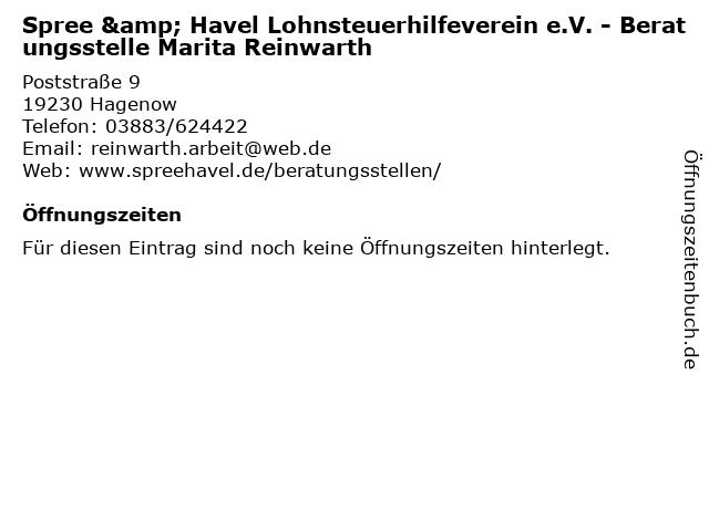 Spree & Havel Lohnsteuerhilfeverein e.V. - Beratungsstelle Marita Reinwarth in Hagenow: Adresse und Öffnungszeiten