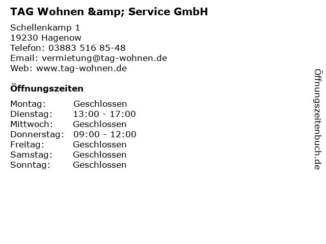 TAG Wohnen & Service GmbH in Hagenow: Adresse und Öffnungszeiten