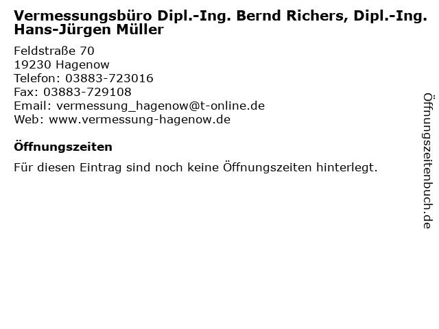 Vermessungsbüro Dipl.-Ing. Bernd Richers, Dipl.-Ing. Hans-Jürgen Müller in Hagenow: Adresse und Öffnungszeiten