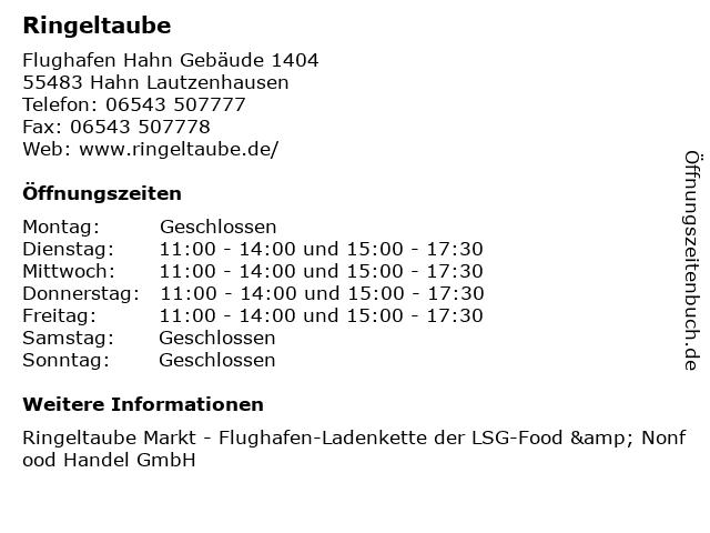 Ringeltaube in Hahn Lautzenhausen: Adresse und Öffnungszeiten